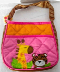 Tasche rosa/orange mit Tier-Sujets