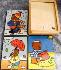 3 Puzzle Bär aus Holz