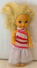 Barbie Kind mit weiss/rotem Kleid