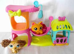 Littlest Pet Shop Katzenhütte mit 1 Katze und 1 Hund