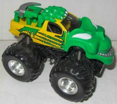Monstertruck grün/gelb mit Gesicht und Pfote