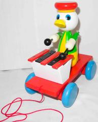 Holzwagen mit Ente gelb/grün und Xylophon