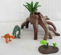 Dino Babys mit Baumstrunk