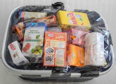 Einkaufskorb blau mit Lebensmittel - NEU
