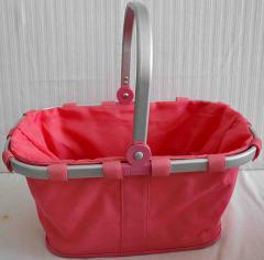 Einkaufskorb rosa aus Stoff