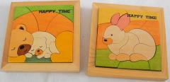 2 kleine Puzzle Bär und Hase aus Holz