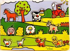 Greifpuzzle Bauernhoftiere aus Holz