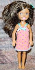 Barbie Kind mit pink/getupftem Kleid