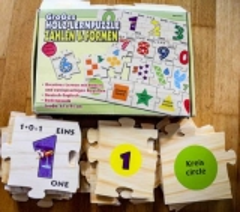 Grosses Holz-Lernpuzzle Zahlen und Formen